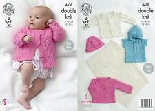 King Cole 4429 Knitting Pattern Baby Matinee Coat Angel Top and Cardigan in DK