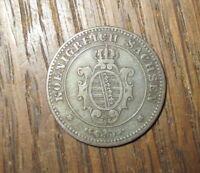 1863 B  Koenigreich Sachsen - 1 Pfennig -  Erhalt durchaus SS