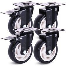 4 Heavy Duty 600kg 100mm PU Swivel Castor Wheels Trolley Furniture Caster Rubber