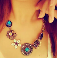 Fashion Women Crystal Flower Pendant Choker Chain Bib Statement Necklace Jewelry
