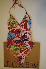 NWT J Crew Paradise Floral Deep V-Halter One Piece Swimsuit Sz 00 XXS B6125 $98