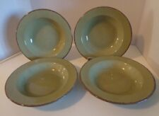 "4 Rim Soup Bowls Green Home Italy Brown Rim 8"""