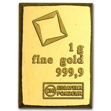1 Gram Fine Gold Bar - Assayed .9999 Pure Fine Bullion - Valcambi Suisse Swiss