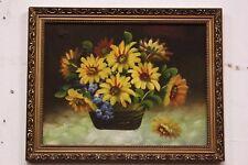Dipinto / quadro olio su tela vaso fiori con cornice XX sec painting oil canvas