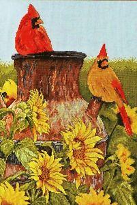 "Plaid Bucilla Heirloom Collection ""Cardinals"" Bird Counted Cross Stitch Kit"