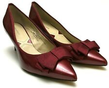 ADRIENNE VITTADINI Women Size 10 Patent Leather Bow Pointed Toe Pumps Heel Red