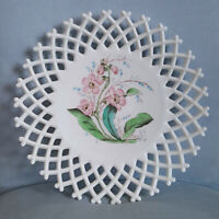 "Vintage Challinor Taylor Hand Painted Milk Glass Open Lattice 10.5"" Plate ~#2a"