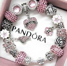 Authentic Pandora Silver Bracelet Mom Family Love Pink Heart European Charms.NIB