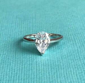 Genuine Sterling Silver 925 Pear Shape CZ Cubic Zirconia Solitaire Ring