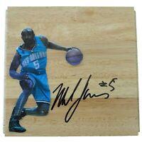 Mike James OKC Hornets Autograph Signed Basketball Floor Board Exact Proof COA