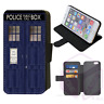 TARDIS DR WHO Police Box Wallet Flip Phone Case iPhone 4 5 6 7 8 Plus X comp