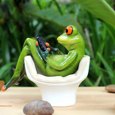 """Novelty Frog Figurines-- """"Frog On The Toilet Playing"""" Cute Resin Sculpture 029"""