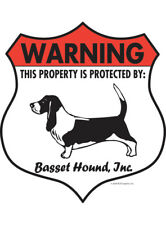 "Warning! Basset Hound - Property Protected Aluminum Dog Sign - 7"" x 8"" (Badge)"