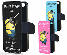 Funny Minions Born To Exterminate Dalek Flip Wallet Phone Case Cover