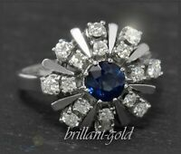 Diamant Brillant & Saphir Damen Cocktial Ring mit 1,85ct, aus 585 Gold, Weißgold