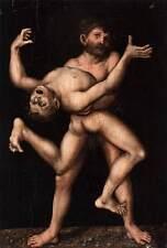 Framed Print - Vintage Picture of Hercules & Antaeus Wrestling (Poster Greek Art