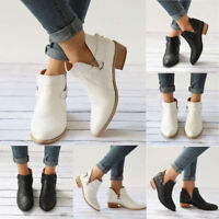 Fashion Womens Ladies Ankle Boots Low Mid Block Heel Casual Flat Shoes Size 6-10