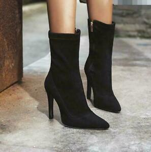 Ladies Stretch Frosted Velvet Zipper Boots Stiletto Heels Pointed Toe Pump Shoes