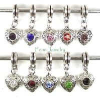 Birthstone Color Charm Dangle Large Hole Slider Bead for European Charm Bracelet