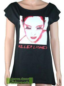 Killer Insinct Black White Red Killer Lashes Longline T Shirt Top Medium 12 BNWT