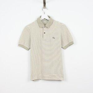K81 Chemise Lacoste Polo Men Stripe Beige Greyish Short Sleeve Cotton Shirt 2 XS