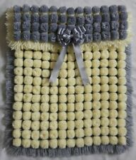 GREY AND LEMON POM POM BABY BLANKET BOY OR GIRL  WITH REMOVABLE BOWS