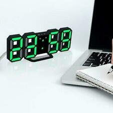 Modern Digital 3D White LED Wall Clock Alarm Clock 12/24 Hour Snooze CL Q9Y0