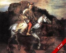 POLISH HORSEMAN WARRIOR ARCHER SOLDIER PAINTING REMBRANDT ART REAL CANVAS PRINT