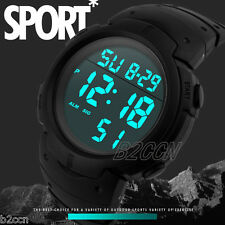 Luxury Men LCD Digital Sport Watch Date&Day Rubber Army Wrist Watches Waterproof