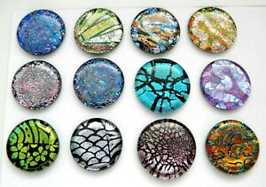 ASSORTED 12 pcs CIRCLE DICHROIC FUSED GLASS pendant (U25) CABS MOSAIC TILE KNOBS
