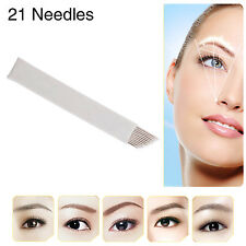 Chuse 50PCS Permanent Makeup Manual Tattoo Double-deck Bevel Blades 21 Needles