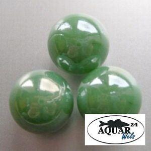 Aquarium  Dekoration Glasmurmeln 16mm Grün 40 Stück Glas DekoStone