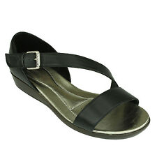 Women Vicenza Black Leather Strappy Sandals Comfortable Flats Shoes