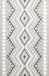Geometric Wool/ Silk Modern Kilim Hand-tufted Multi Level Loop Pile Area Rug 5x7