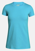 Under Armour UA HeatGear Youth Girls Charged Cotton T-Shirt Blue 1282067 Large L