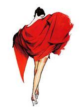 ART PRINT POSTER PAINTING PORTRAIT WOMAN RED DRESS HOSE STOCKING LEG NOFL0870