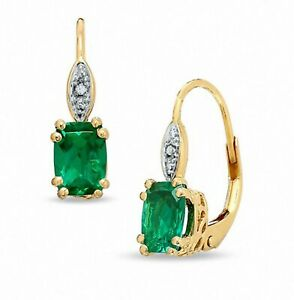 7x5mm Cushion Emerald and Diamond Leverback Drop Dangle Earrings 14K Gold Over
