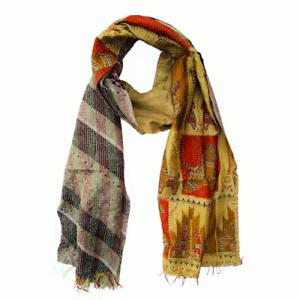 Indian Handmade Vintage Silk Kantha Boho Scarf Stole Shawl-4