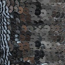 """Hematite Shiny Gray Sequin Trim 6mm 1/4"""" wide stitched, strung by the yard 15'"""