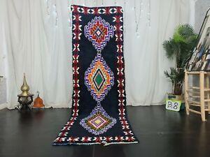 Vintage Moroccan Handmade Runner Rug 2.9x9.1ft Berber Geometric black cotton rug
