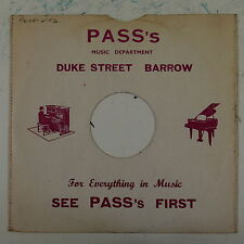 "78rpm 10"" card gramophone record sleeve / cover PASS`S duke st barrow"