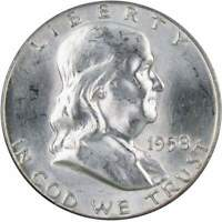 1958 Franklin Half Dollar BU Uncirculated Mint State 90% Silver 50c US Coin