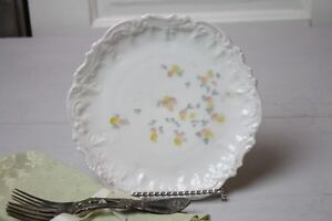 Vintage Cabinet Plate Yellow Peach Gray Petite Flowers Relief Rim Gold Daubs