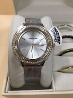 Anne Klein Women's Swarovski Crystal Accented Watch and Interchangeable BezelSet