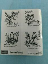 Stampin Up Seasonal Birds Set of 4 Wood Mounted Rubber Stamps 2002 Nature