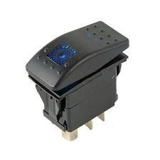 7 Pin DPDT ON-OFF-ON Rocker Switch Blue LED Marine Boat Jeep 2 Lights Waterproof