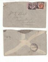 Queensland TPO backstamp on 1900 cover from UK with Squared Circle cancels
