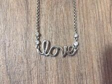 """NEW LOVE SCRIPT NECKLACE WITH CUBIC ZIRCONIA INLAYS CABLE CHAIN 17"""" FREE SHIP"""
