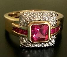 Galerie de Bijoux Collection 14k Rubellite, Pink Sapphire & Diamond Ring Size 9