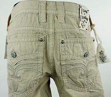 "$220 Mens Rock Revival Pants ""Commando Twill Pockets"" Tan Color 32 X 32"